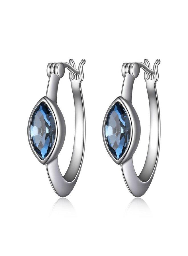 Boucle d'oreille argent .925 pierre bleu