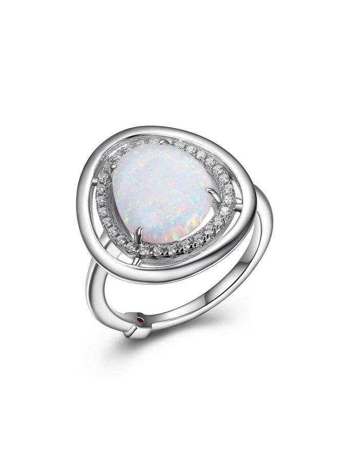 Bague argent .925 opale et zircon
