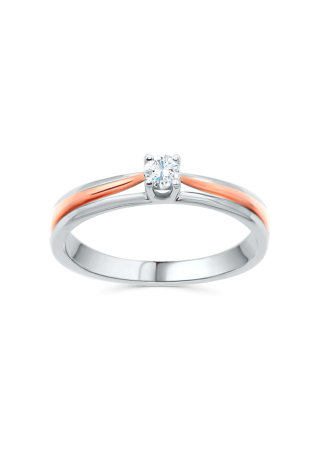 Bague solitaire 10k 2 tons diamant 1x0.12ct I GH
