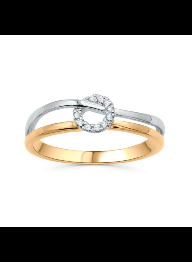 Bague diamant 10k 2 tons 10=0.06ct I GH