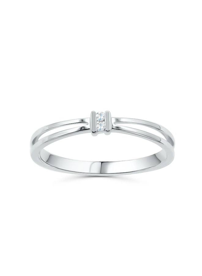 Bague diamant 10k blanc 2x0.02ct I GH