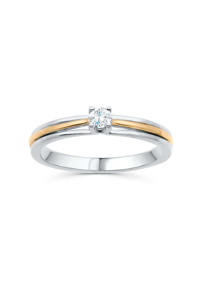 Bague diamant 10k 2 tons 1x0.13ct I GH