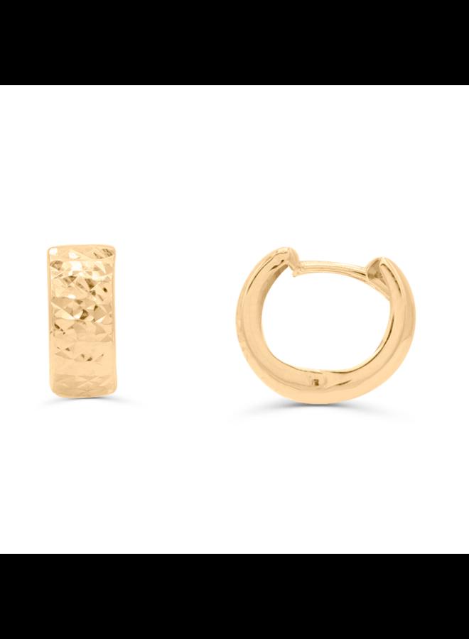 Boucle d'oreille huggies 10k jaune coupe diamant 12mm