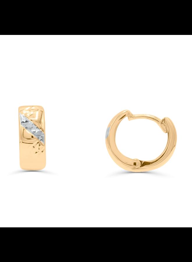 Boucle d'oreille huggies 10k 2 tons coupe diamant Z 13mm