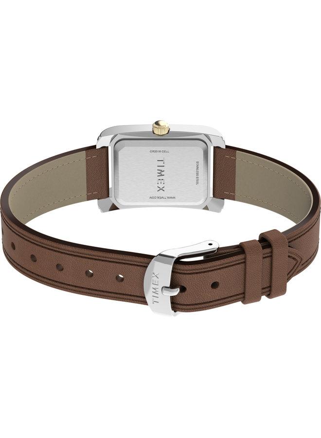 Timex dame rectangulaire cuir tan