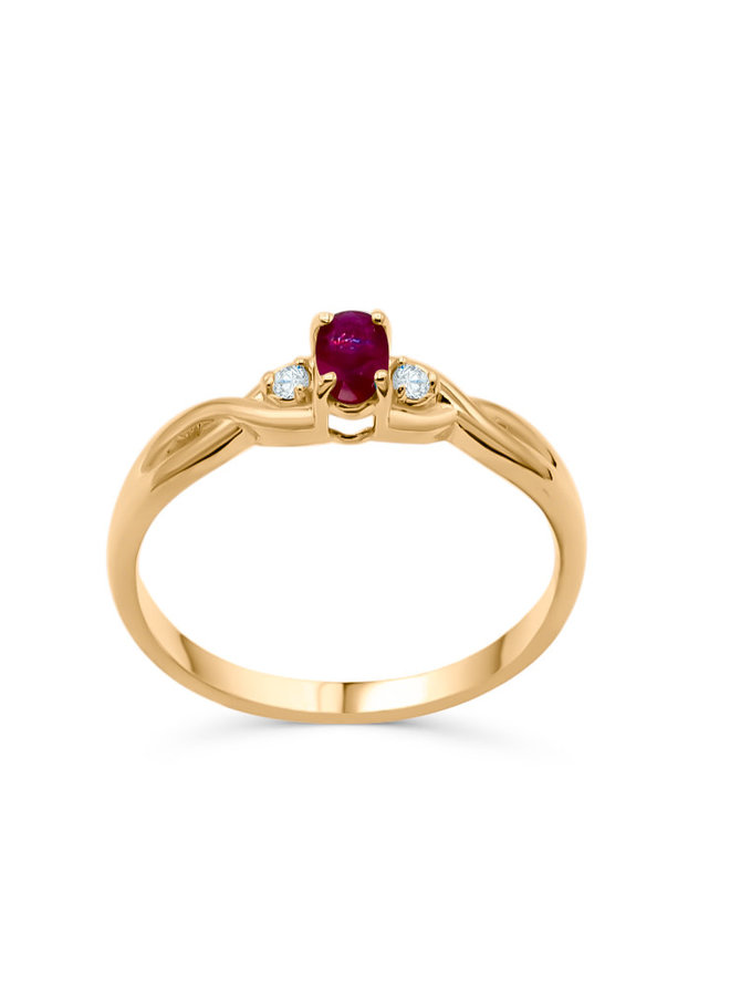 Bague 10k or jaune rubis 2x0.02 ct I GH