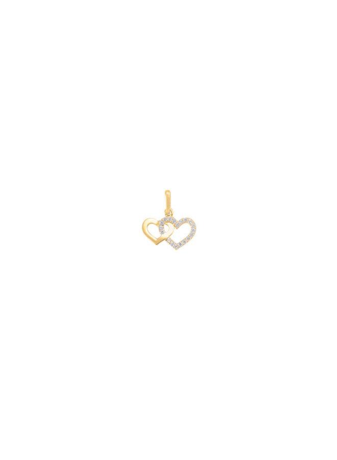 Pendentif 10k jaune coeur zircon
