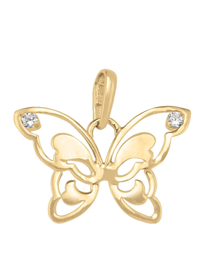 Pendentif 10k jaune papillon zircon