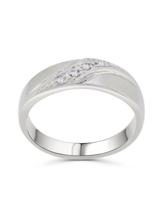 Jonc 10k blanc diamant 4=0,07ct I GH