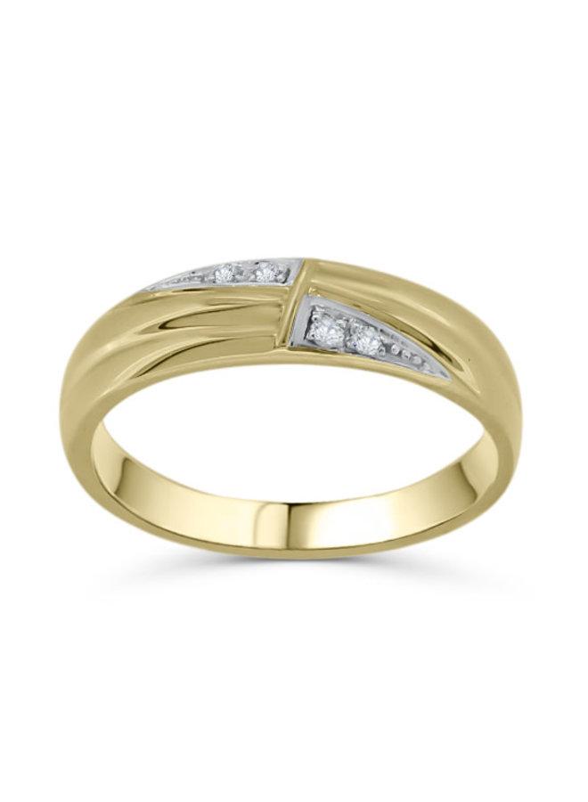 Jonc 10k jaune diamant   4X0.01CT I GH