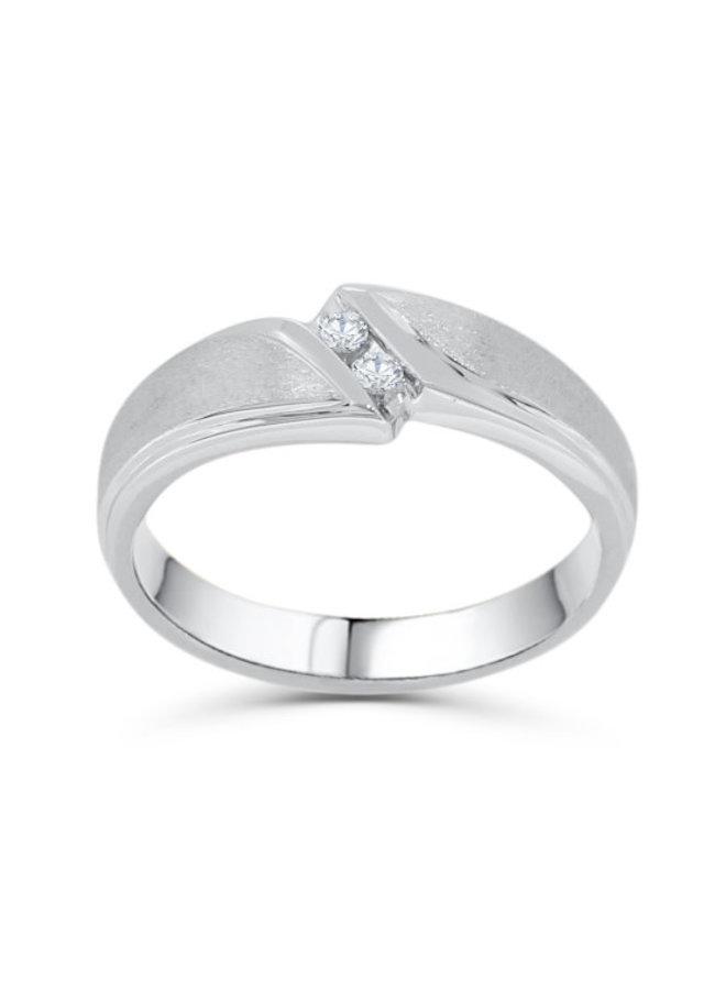 Jonc 10k blanc diamant  2=0.05ct I GH