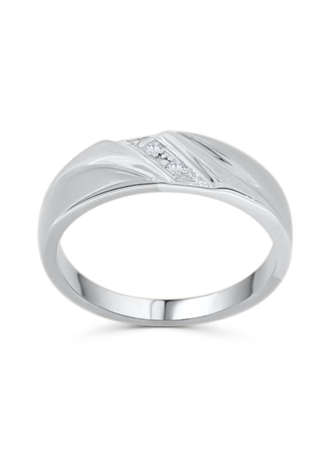 Jonc 10k blanc Diamant  2=0,02ct I GH