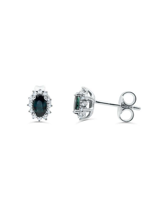 Boucle d'oreille 10k blanc diamant 0.08ct saphir