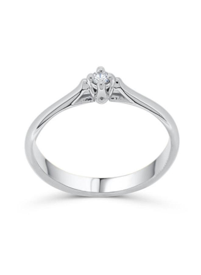 Bague 10k diamant solitaire 1x0.05ct I GH