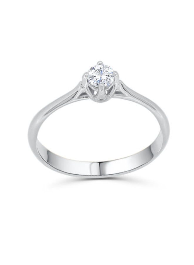 Bague 10k diamant solitaire 1x0.15ct I GH