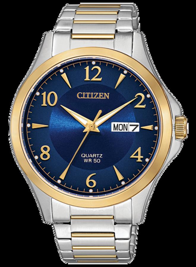 Citizen quartz homme acier 2 tons fond bleu