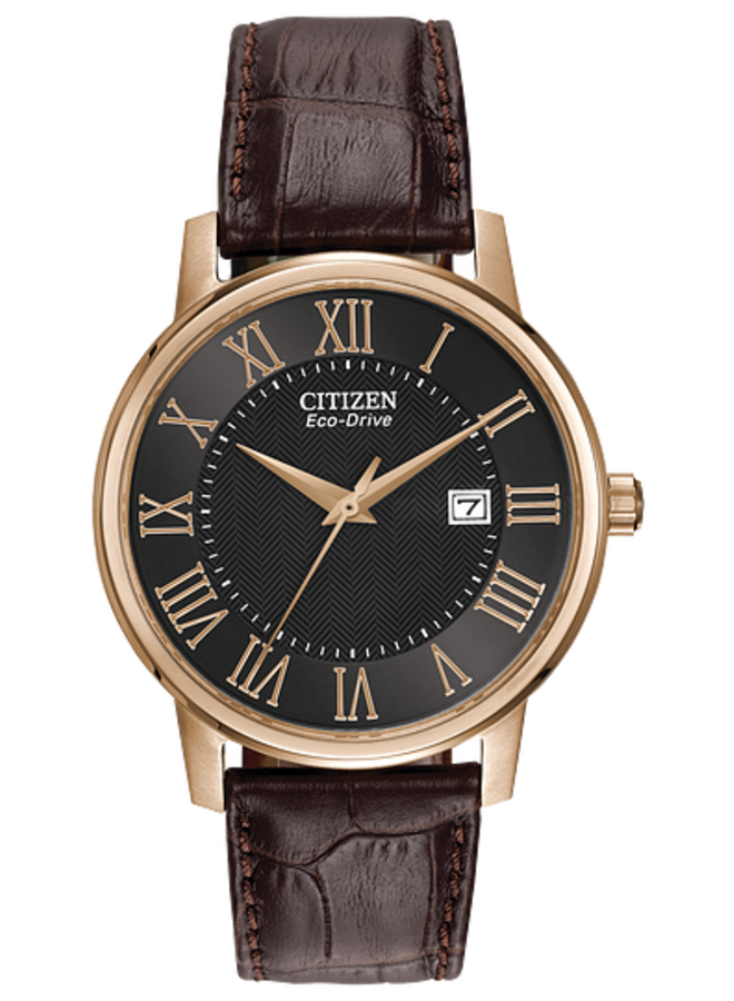 CITIZEN ECO-DRIVE ROUND ROSE GOLD-TONE STAINLESS STEEL CASE