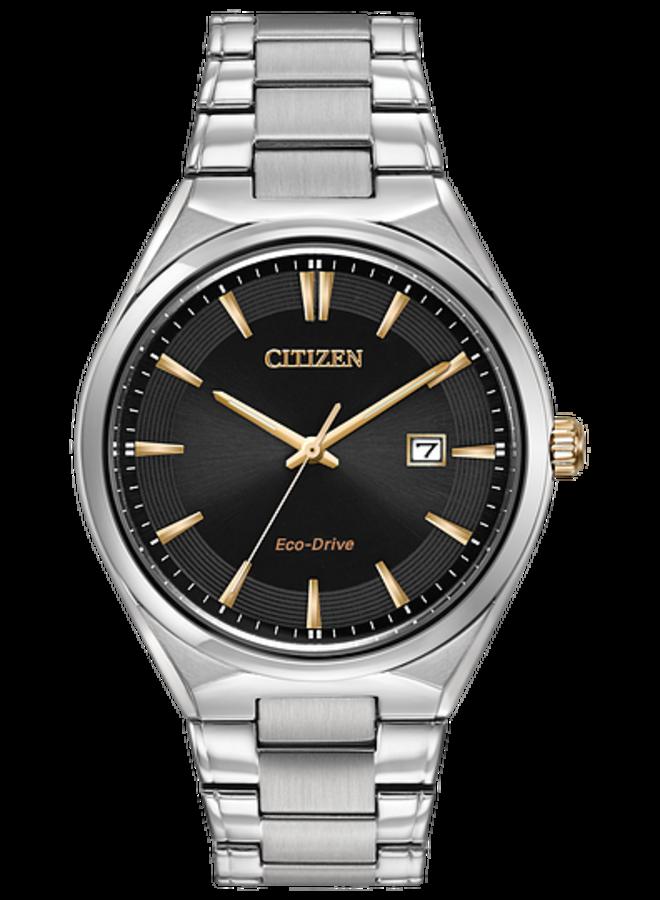 Citizen Eco-drive ronde acier fond noir