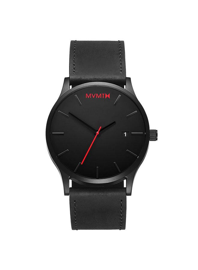 MVMT acier noir cuir noir