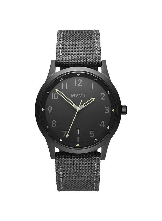 MVMT acier noir bracelet nylon gris