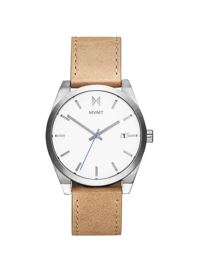 MVMT acier bracelet cuir tan