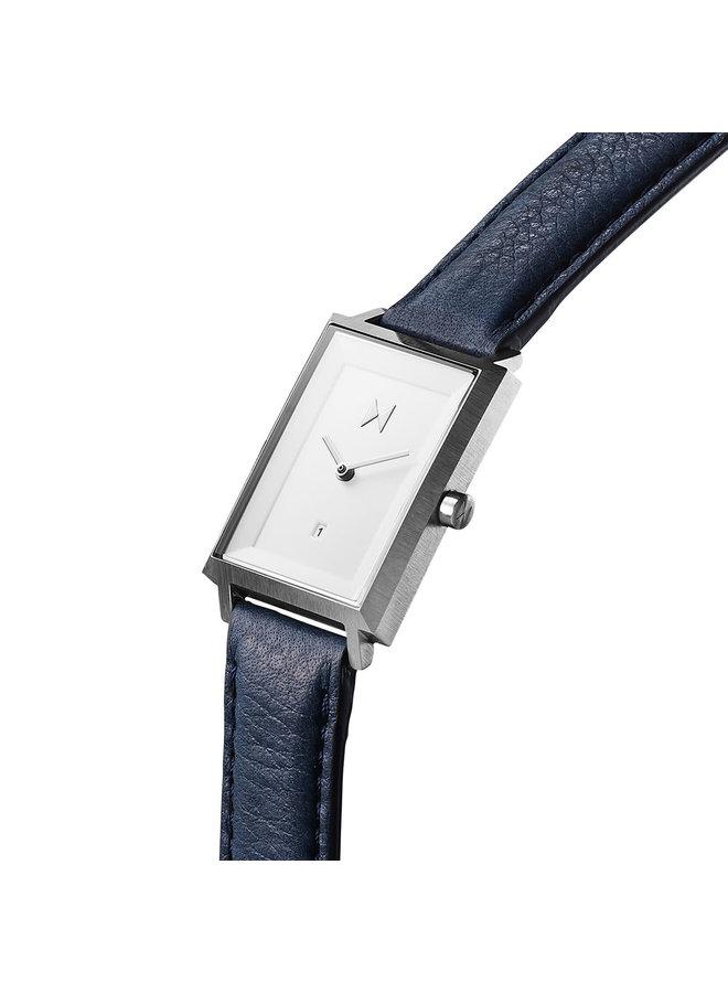 MVMT rectangle acier bracelet cuir bleu