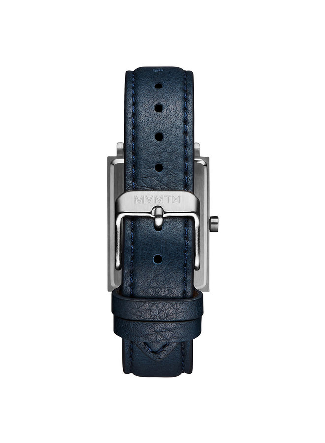 MVMT rectangle acier bracelet cuir bleu