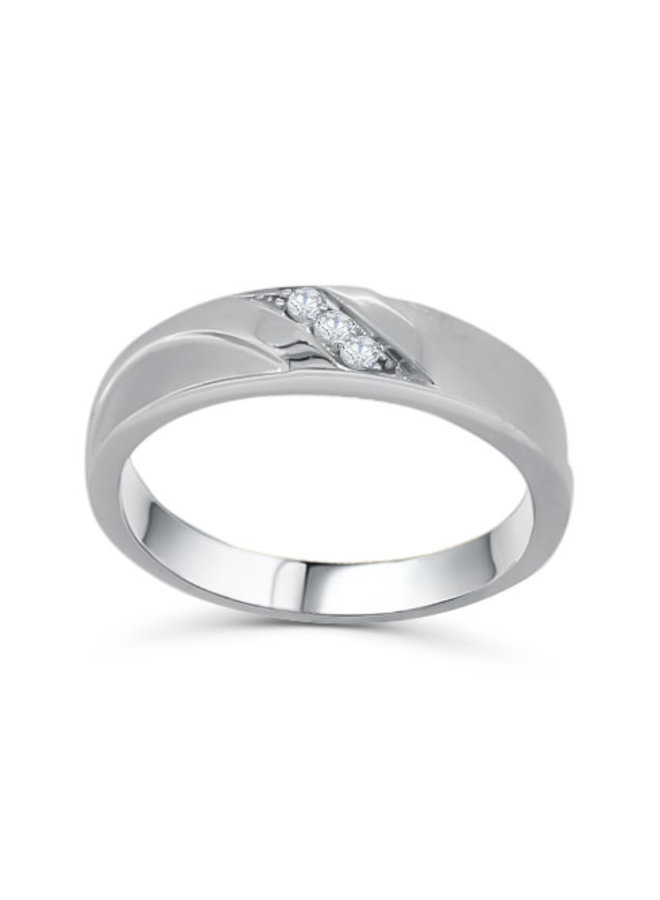 Jonc pour dame à diamants en or blanc 10k