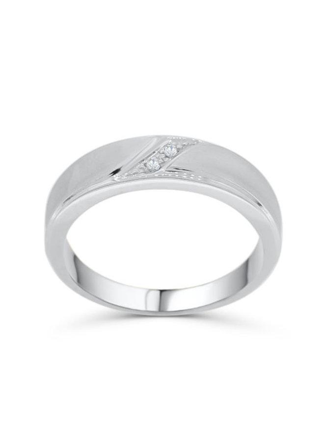 Jonc 10k blanc diamant 2=0.02 I GH