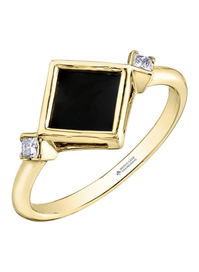 Bague 10k jaune onyx=6x6mm diamant 2x0.044ct SI2 G