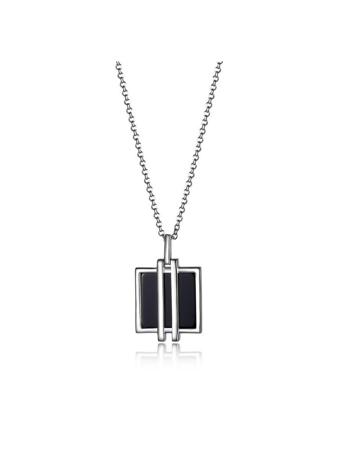 """SS ELLE """"MIDNIGHT"""" RHODIUM PLATED GENUINE SQUARE BLACK AGATE NECKLACE 16""""+2"""" EXTENSION. STONE SIZE S"""