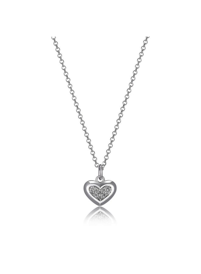 """SS ELLE """"SCINTILLATION"""" RHODIUM PLATED SMALL CZ HEART NECKLACE 18+2"""" EXTENSION"""