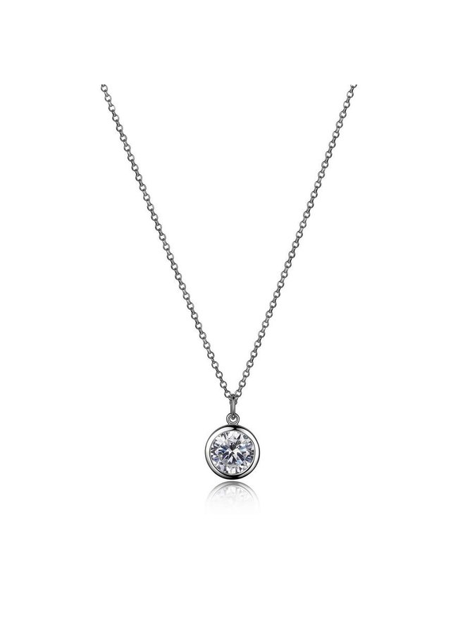 """Sterling Silver Rhodium Plated Bezel Set Cubic Zircinia Solitaire Necklace 16"""" with 2"""" extender"""