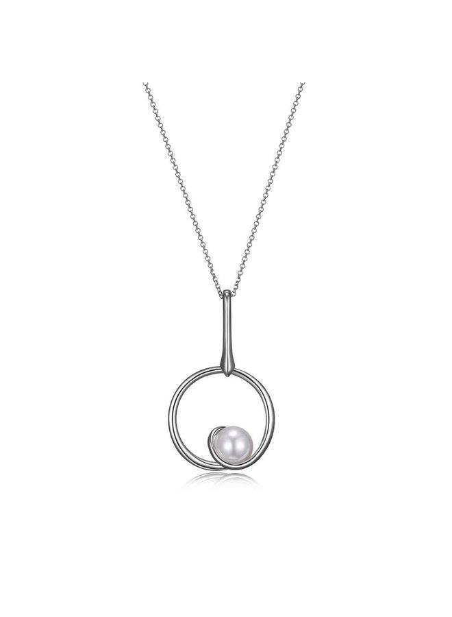 "SS ELLE ""PEARLS"" RHODIUM PLATED CIRCLE PENDANT WITH 10MM GENUINE SHELL PEARL LONG NECKLACE 28""+2"" EXTENSION"