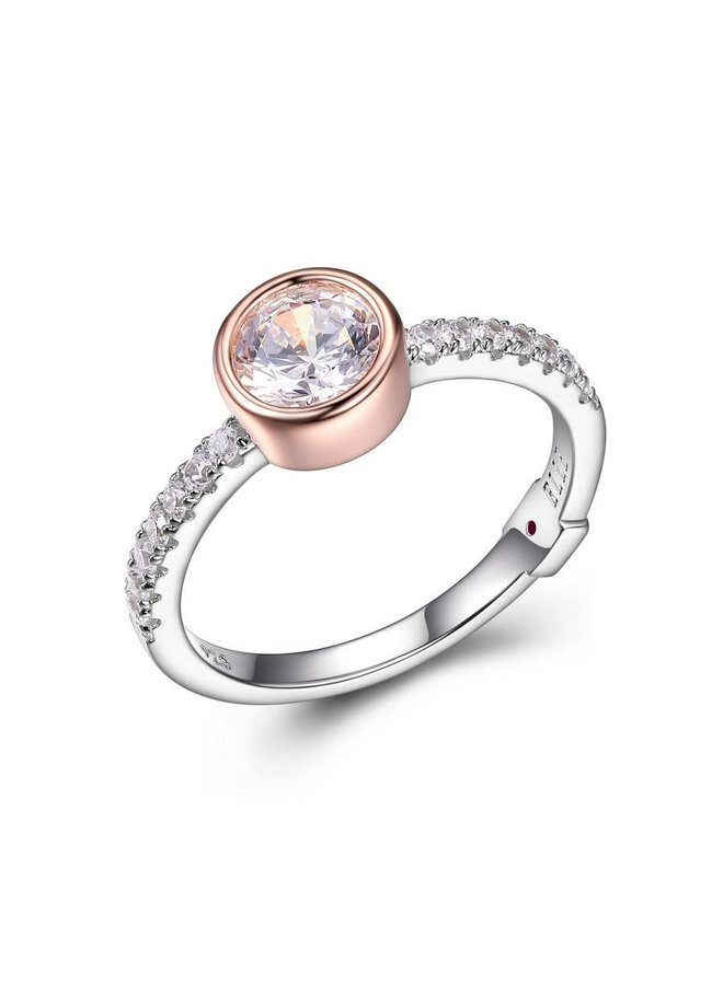 """SS ELLE """"SPHERE"""" 6MM BEZEL SET RING WITH CZ IN RHODIUM & ROSE GOLD PLATING. SIZE 7"""
