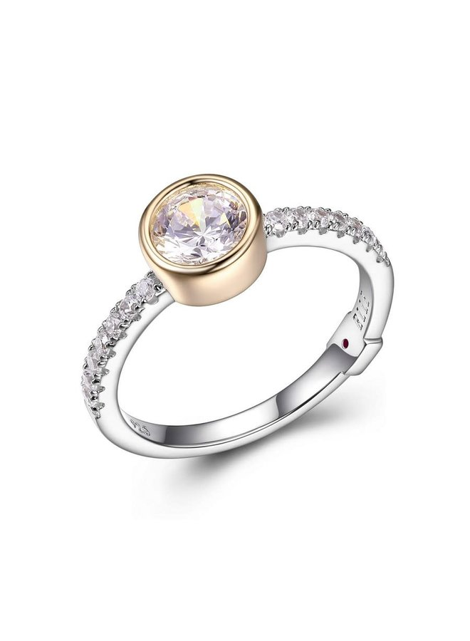 """SS ELLE """"SPHERE"""" 6MM BEZEL SET RING WITH CZ IN RHODIUM &  GOLD PLATING. SIZE 7"""