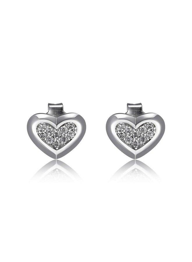 Boucle d'oreille coeur fixe argent plaqué avec zircon