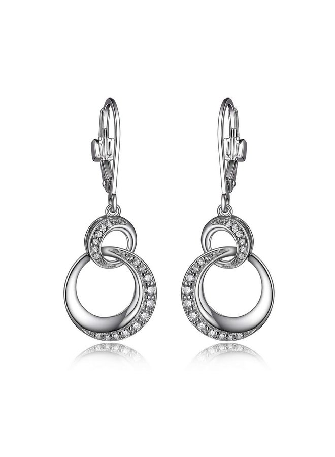 """SS ELLE """"HUG"""" RHODIUM PLATED DANGLE CIRCLE LINK LEVER BACK EARRING WITH CZ"""