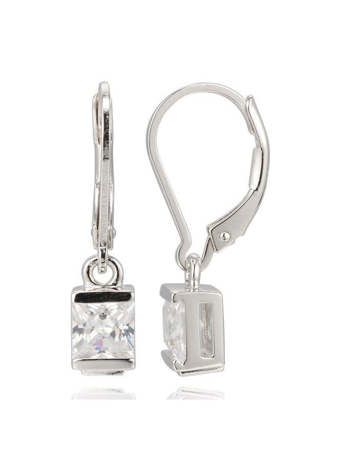Boucle d'oreille argent plaqué rhodium avec zircon