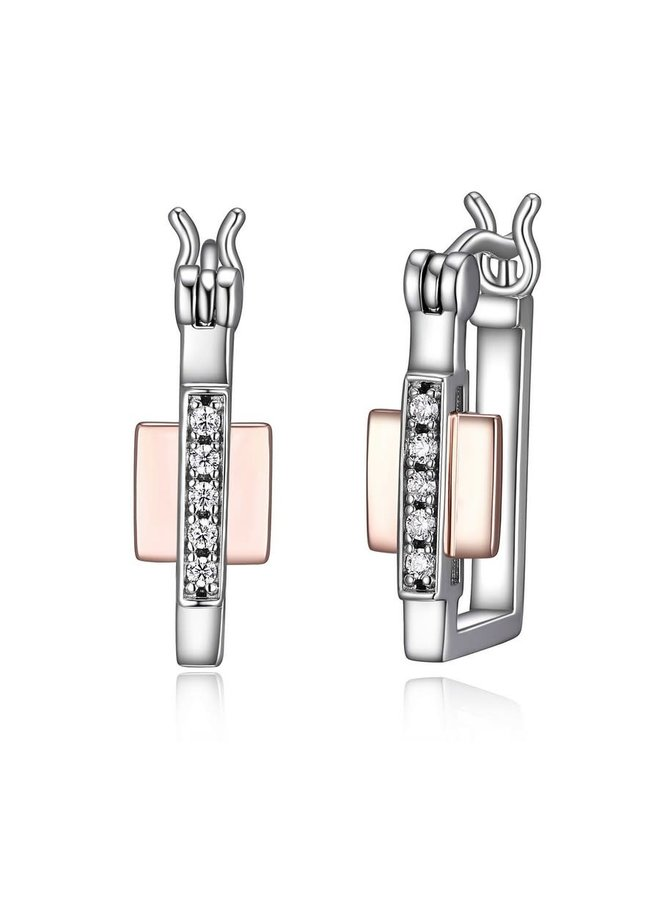 """SS ELLE """"MIDNIGHT"""" 15X10MM RECTANGLE HOOP EARRING  IN RHODIUM & ROSE GOLD PLATING."""