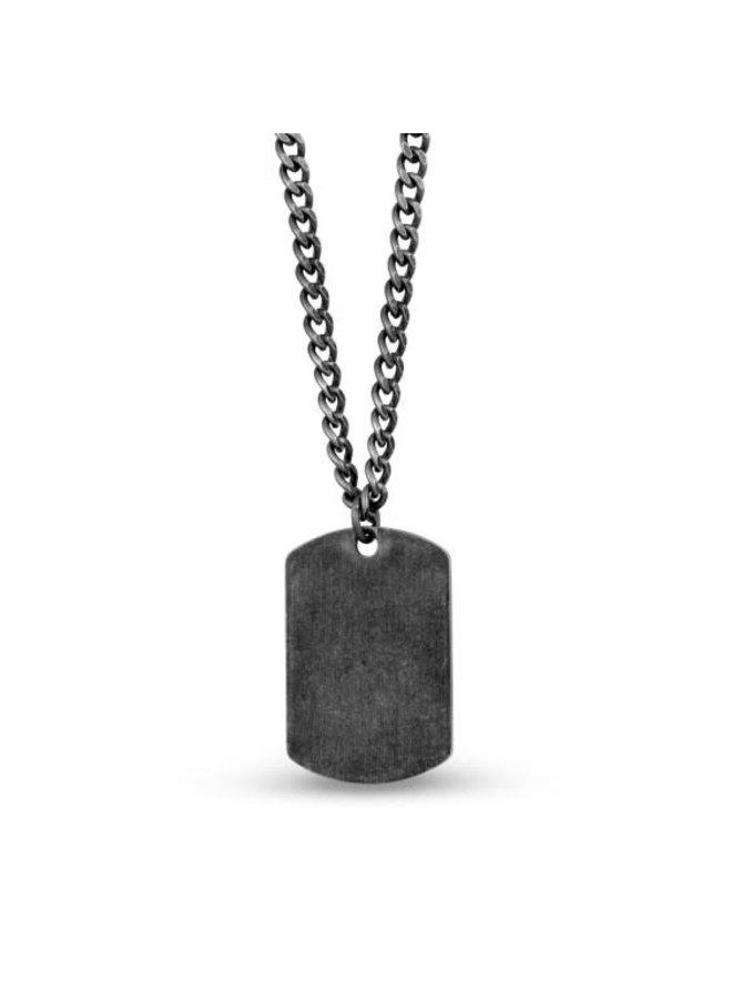 Chaine acier noir avec plaque 24'' gourmette
