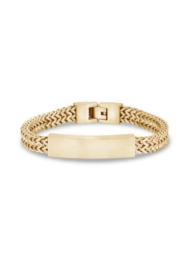 Bracelet homme acier dorée avec plaque 8''