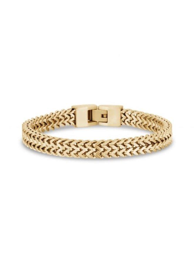 Bracelet homme acier doré 8'' franco