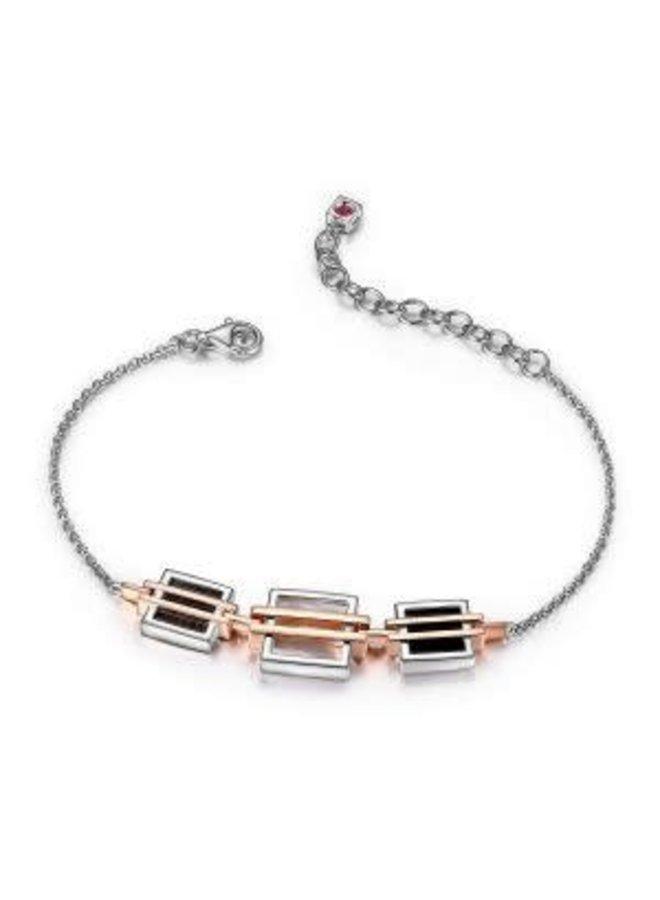 Bracelet .925 2 tons rosée agathe noir et nacre de perle 7''