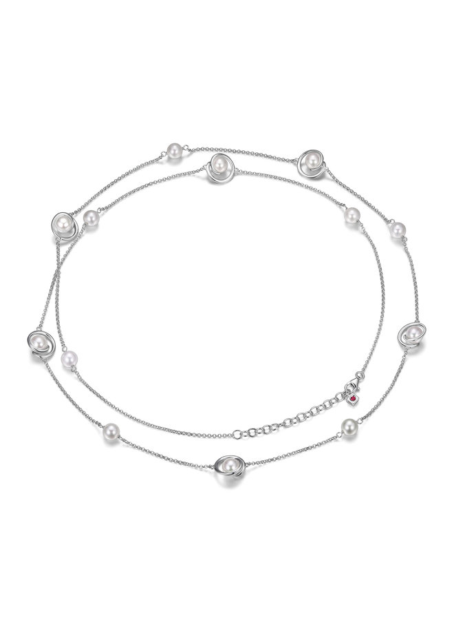Collier long .925 perle blanche 36''