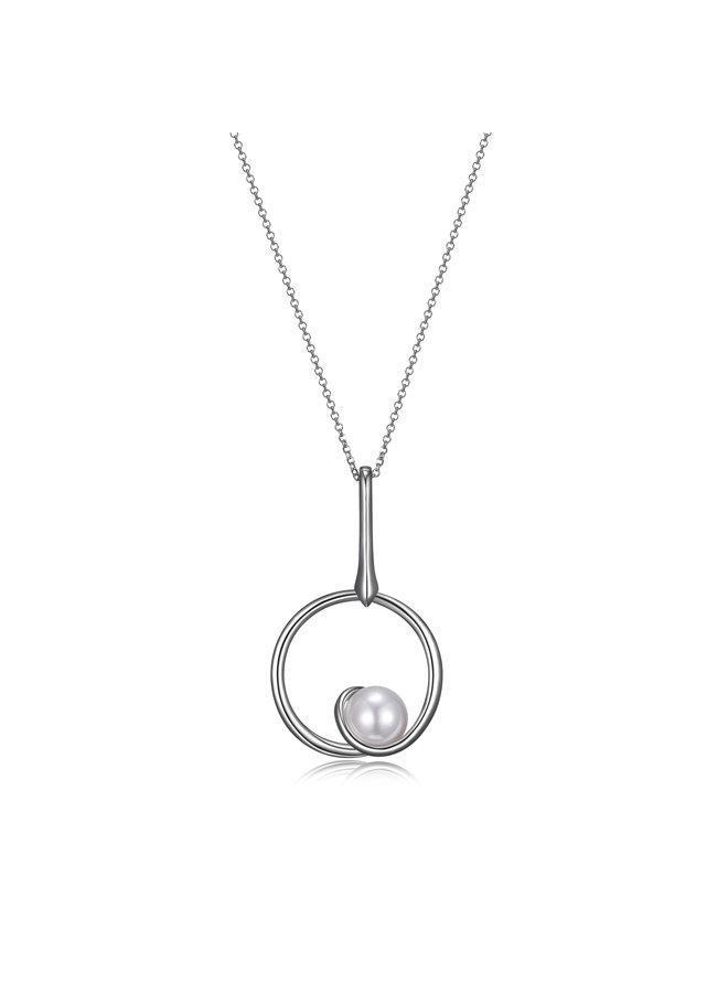 Collier long .925 pendentif rond avec perle blanche 28''