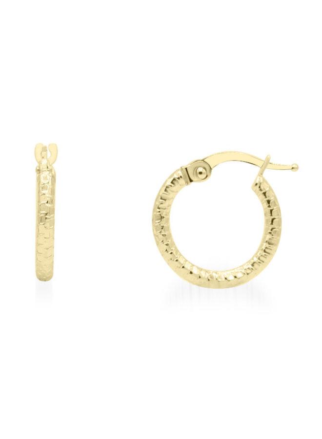 Boucle d'oreille anneau 10k jaune motif 14mm