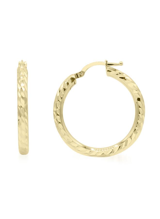 Boucle d'oreille anneau 10k jaune coupe diamant 26mm