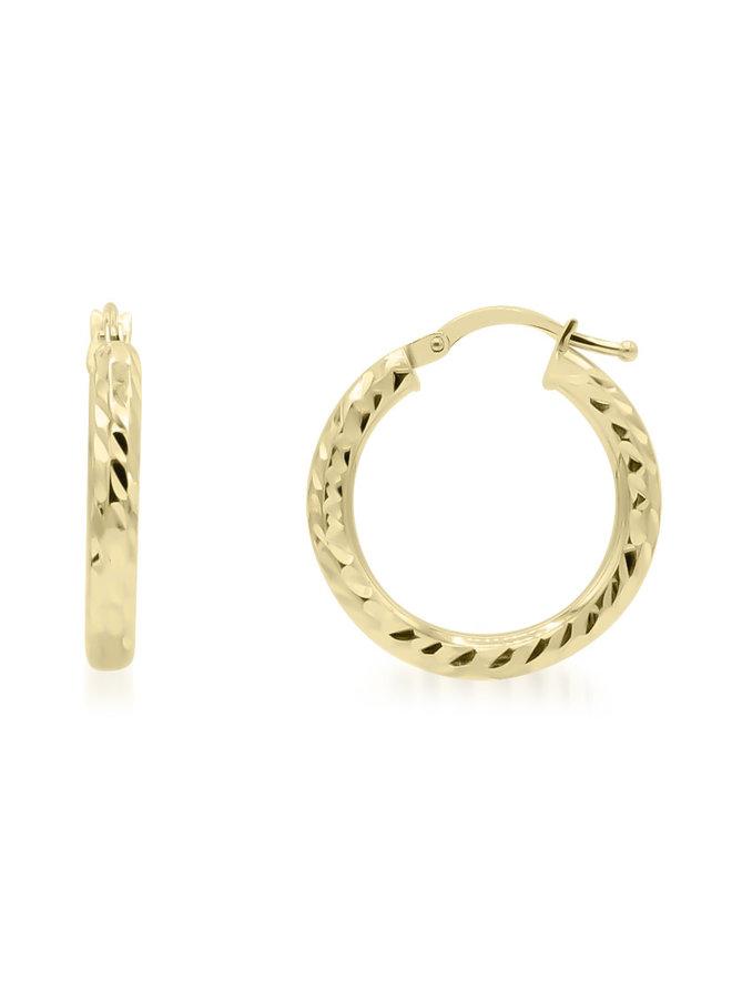 Boucle d'oreille anneau 10k jaune coupe diamant 21mm