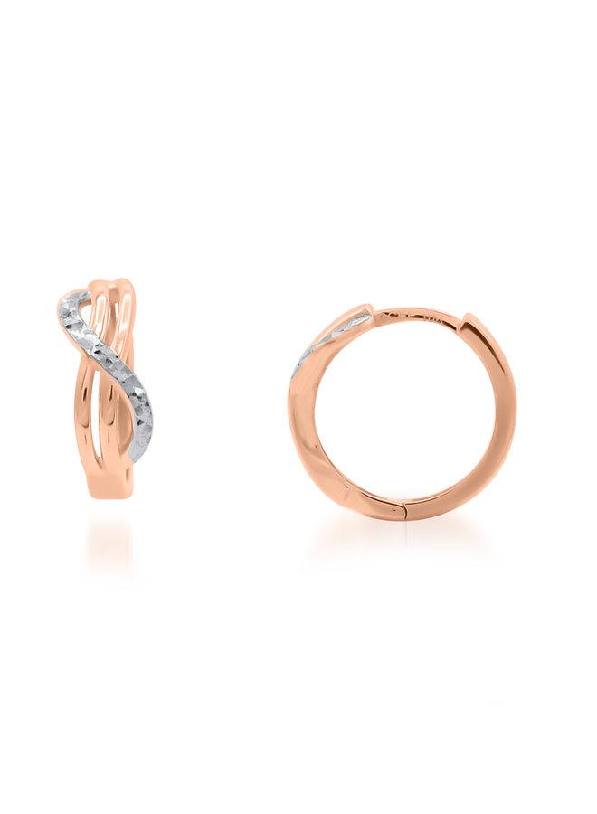 Boucle d'oreille huggies 2tons 10k coupe diamant